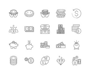 Banknotes and coins line icons, linear signs, vector set, outline concept illustration