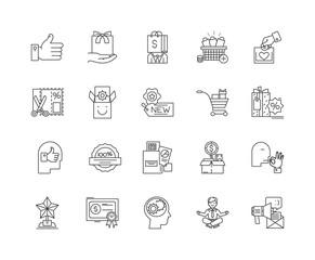 Bonus line icons, linear signs, vector set, outline concept illustration