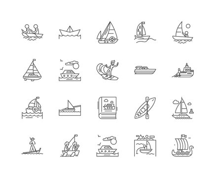 Boat line icons, linear signs, vector set, outline concept illustration