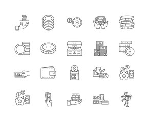 Cash line icons, linear signs, vector set, outline concept illustration