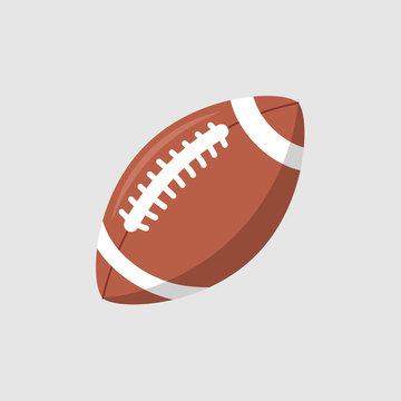 Rugby ball vector icon. Football american league logo isolated oval cartoon ball flat design