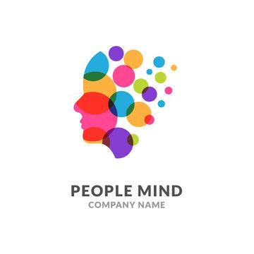 Human head face logo, creative brain man. Digital profile face innovation intelligence mind design logo