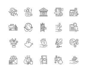 Commodity brocer line icons, linear signs, vector set, outline concept illustration