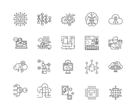 Cpu line icons, linear signs, vector set, outline concept illustration