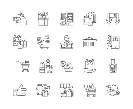 Customer loyality line icons, linear signs, vector set, outline concept illustration