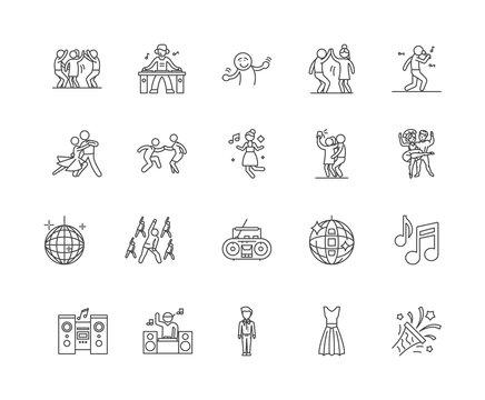 Dance line icons, linear signs, vector set, outline concept illustration