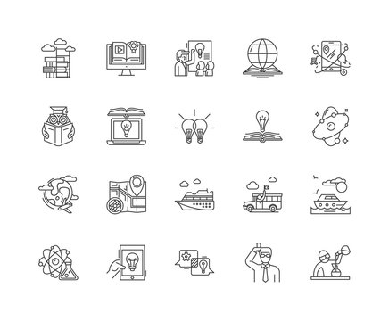 Discovery line icons, linear signs, vector set, outline concept illustration