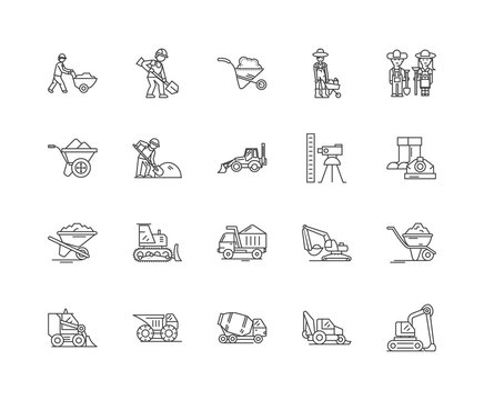Excavation and grounwork line icons, linear signs, vector set, outline concept illustration