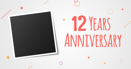 12 years anniversary photo frame card. 12th year anniversary vector elegant template design