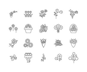 Flowers line icons, linear signs, vector set, outline concept illustration
