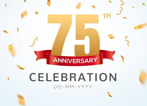 75 Anniversary gold numbers with golden confetti. Celebration 75th anniversary event party template