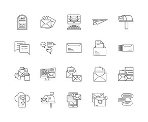Inbox line icons, linear signs, vector set, outline concept illustration