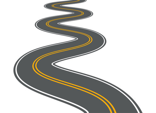 Winding road vector highway path long street asphalt isolated perspective road way journey illustration