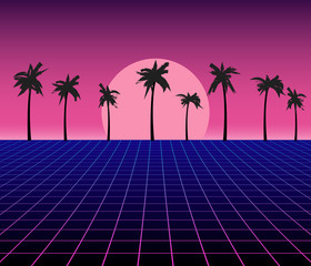 Synth wave retro grid background. Synthwave 80s vapor vector game poster neon futuristic laser space landscape