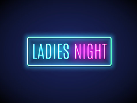 Neon night lady fashion invitation sign party flyer. Pink bar or club for girl disco party typography