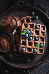 Sweet waffles with dark chocolate and fresh blueberries