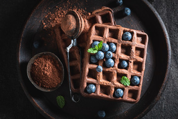 Delicious waffles made of cocoa with fresh blueberries
