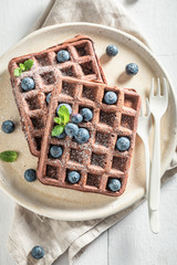 Homemade waffles with dark chocolate and berry fruits