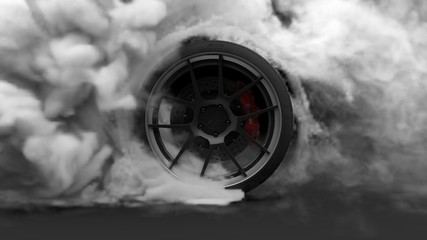 Tire Burnout. Burning rubber and Smoking tire with a rotating wheel with thick Smoke on dark background. 3D Rendering Wall mural
