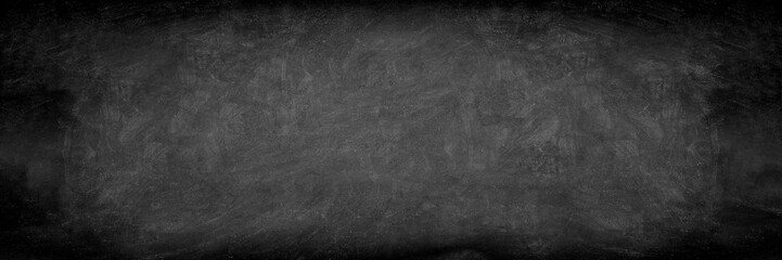 Blackboard chalkboard banner board with chalk texture. Panoramic header blank sign.