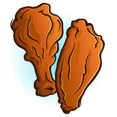 Chicken Wings Cartoon Vector Illustration