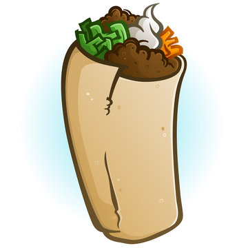 A simple isolated burrito cartoon vector on a faded blue background with loads of delicious fillings