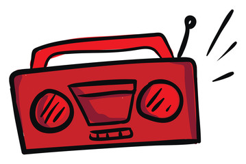 Clipart of the red radio cassette player old model set isolated on white background, vector or color illustration