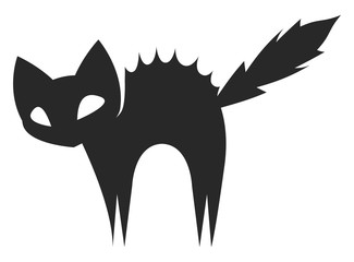 Silhouette of a scared black cat, vector or color illustration