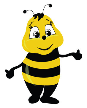 A cute bee, vector or color illustration.