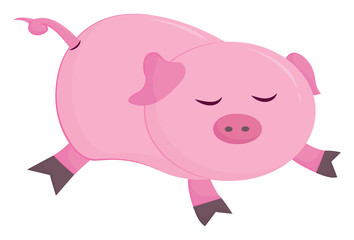 Cute little cartoon piggie sleeping, vector or color illustration.