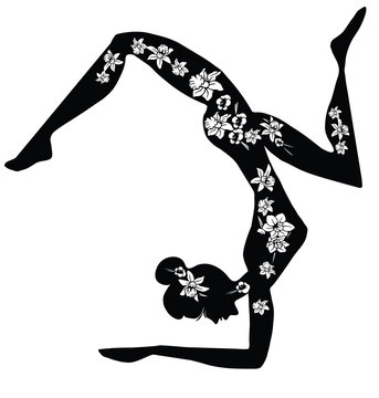 Practicing Yoga. Vector Illustration of a Woman Making Fitness Exercise. Silhouette with flower cut design