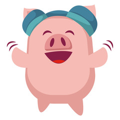 Piggy is listening music on headphones, illustration, vector on white background.