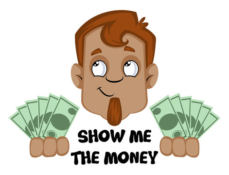 Human emoji with show me the money expression, illustration, vector on white background.
