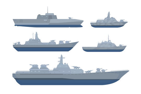 war ship set collection pack with various model and size with modern style and grey black color - vector