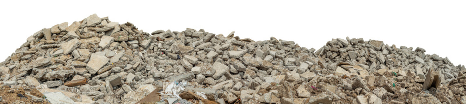 Ruined rubble isolated on white background have clipping path