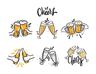 Cheers with beer glasses. Hand drawn vector illustration set. Cartoon style. Isolated on white background.
