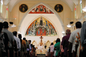 Worshippers pray during a mass at the St.Theresa's church as the Catholic churches in Sri Lanka restart their Sunday service after Easter Sunday bombing attacks on 21st of April,in Colombo