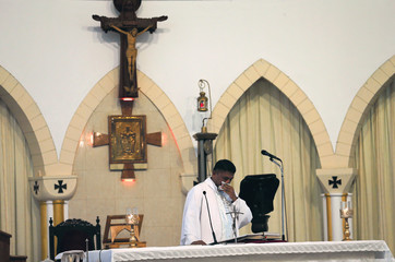 A priest reacts emotionally as he tries to address worshippers at the St.Theresa's church as the Catholic churches in Sri Lanka restart their Sunday service after Easter Sunday bombing attacks on 21st of April,in Colombo
