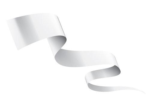 White ribbon on white background. Vector illustration