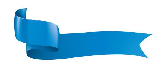 blue ribbon on white background. Vector illustration