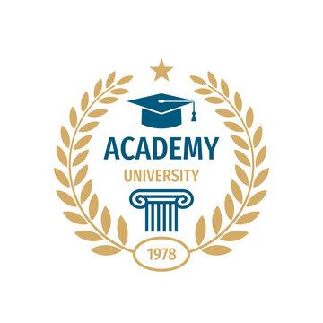 University college school badge logo design.