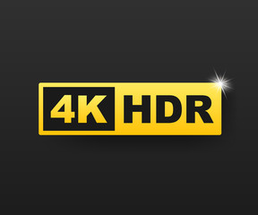 4K Ultra HD symbol, High definition 4K resolution mark, HDR. Vector stock illustration.