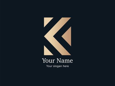 Moderno y lujoso logo dorado de letra k abstracta