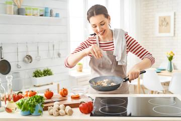 woman is preparing proper meal