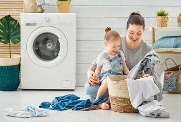 family doing laundry
