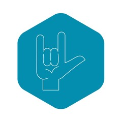 Rock gesture icon. Outline illustration of rock gesture vector icon for web