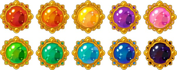 Shiny colorful round gem with golden frame set for mobile game interface design.