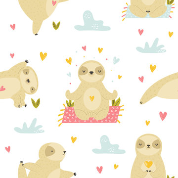 Sweet seamless pattern with cute sloths in asanas.