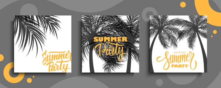 Summer Party cards set. Summertime party tropical backgrounds with hand drawn lettering Summer Party and palm trees. Vector illustration.