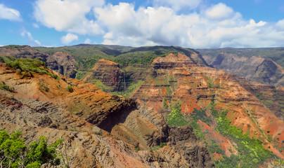 Lookout view of Waipoo Falls at Waimea Canyon, aka the Grand Canyon of the Pacific, Kauai, Hawaii, USA